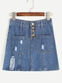 Blue Ripped Dual Pockets Denim Skirt