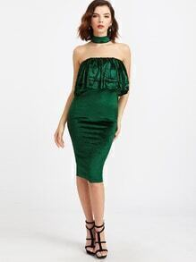 Dark Green Velvet Choker Neck Ruffle Tiered Pencil Dress