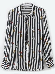 Black And White Vertical Striped Flower Print Blouse