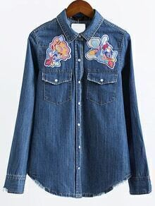 Blue Patch Embroidery Denim Blouse
