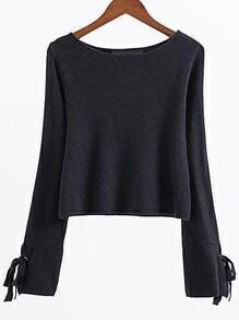 Black Eyelet Lace Up Sleeve Knitwear