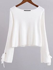 Suéter de manga con cordones - blanco