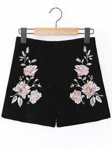 Black Flower Embroidered Zipper Side Velvet Shorts