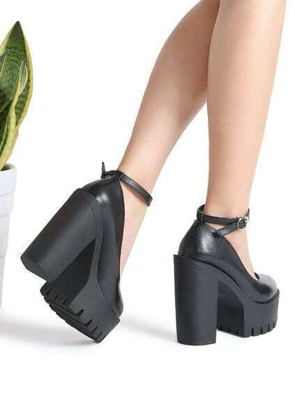 e11b6c808fb Black Ankle Strap Platform PU Heels