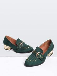 Green Studded Detail Pearl Design Buckle Shoes