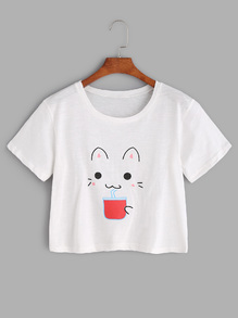 White Cat Print Crop T-shirt