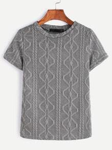 Grey Knit Short Sleeve T-shirt