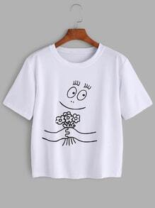 White Cartoon Print T-shirt