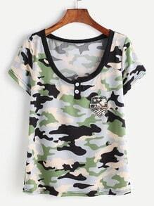 Camouflage Print Patch T-shirt
