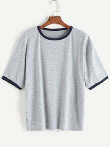 Heather Grey Contrast Trim T-shirt