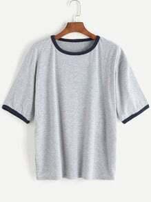 Heather Grey Contrast Trim T-shirt