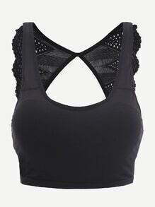 Black Contrast Lace Scallop Cut Out Back Tank Top