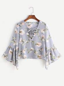 Blue Florals V Neck Bell Sleeve Lace Up Blouse