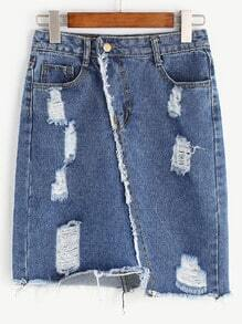 Blue Ripped Raw Hem Asymmetrical Denim Skirt