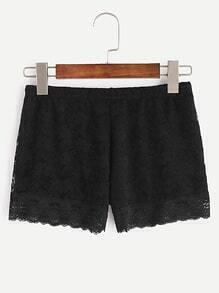Black Elastic Waist Lace Overlay Shorts