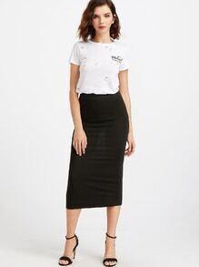 Black Knit Sheath Midi Skirt
