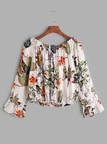 Tropical Print Boat Neck Ruffle Top