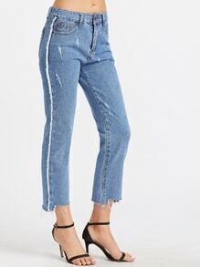 Light Blue Asymmetric Raw Hem Ankle Jeans