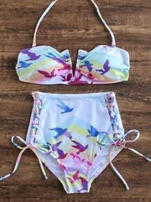 Multicolor Printed Side Tie High Waist Bikini Set