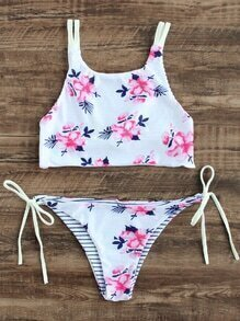 White Floral Print Side Tie Bikini Set