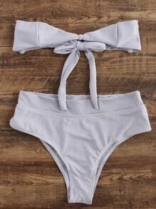 Light Grey Bandeau Bow Tie Bikini Set