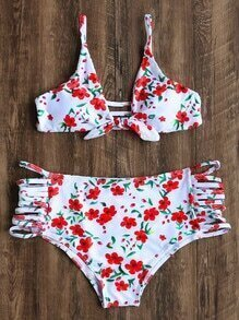White Floral Print Ladder Cutout Bikini Set