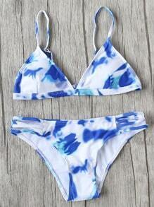 Blue And White Printed Triangle Bikini Set