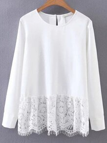 White Contrast Lace Hem Blouse