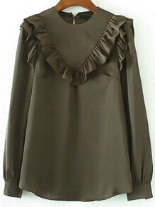 Army Green Ruffle Trim Chiffon Blouse