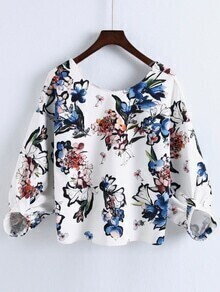 White Flower Print V Back Blouse