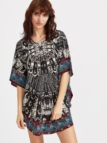 Black Tribal Print Dolman Sleeve Blouse