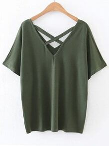 Army Green Double V Neck Criss Cross Front T-shirt