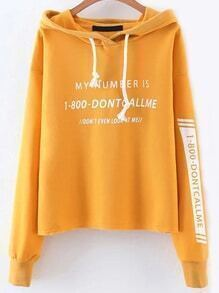 Yellow Letter Print Drawstring Hooded Sweatshirt