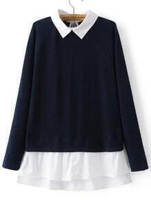 Navy Contrast Collar And Hem Raglan Sleeve Knitwear