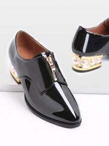 Black Zipper Design Patent Leather Heeled Shoes