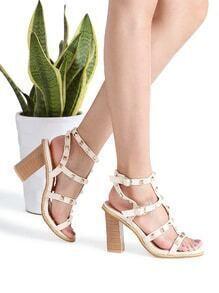 Apricot Studded Chunky Heeled Sandals