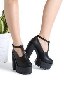 Black Ankle Strap PU Platform Heels