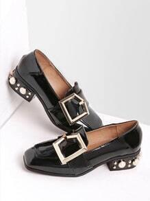 Black Buckle Design Square Toe Shoes