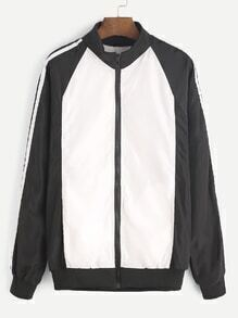 Color Block Letter Print Zipper Front Jacket