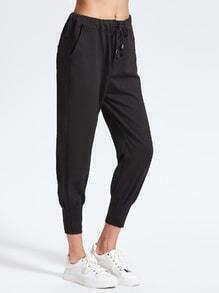 Black Drawstring Waist Tapered Pants