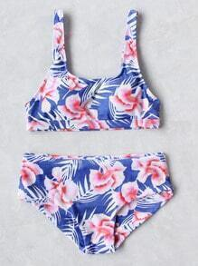 Blue Flower Print Tankini Set