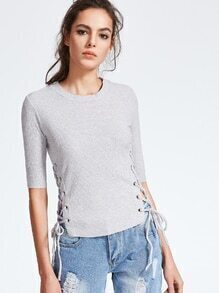 Grey Elbow Sleeve Eyelet Lace Up Knitwear