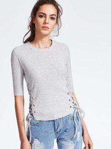 Suéter de manga al codo con cordones - gris