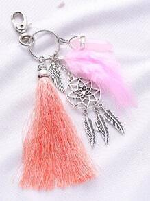 Feather Charm Silver Metal Keychain
