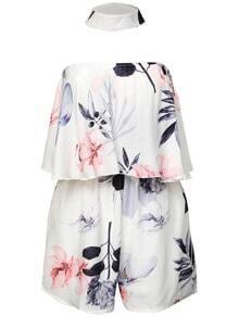 Mono floral con hombro al aire con gargantilla - blanco