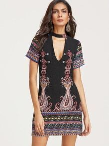 Black Choker V Neck Random Printed Dress
