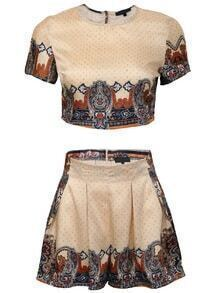 Apricot Printed Crop Top With Shorts