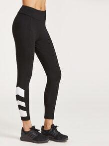Black Contrast Print Hem Crop Leggings