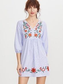 Blue Striped Button Front Lantern Sleeve Embroidered Dress