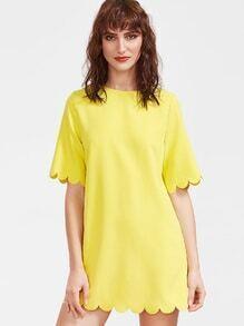 Vestido con ribete festoneado - amarillo